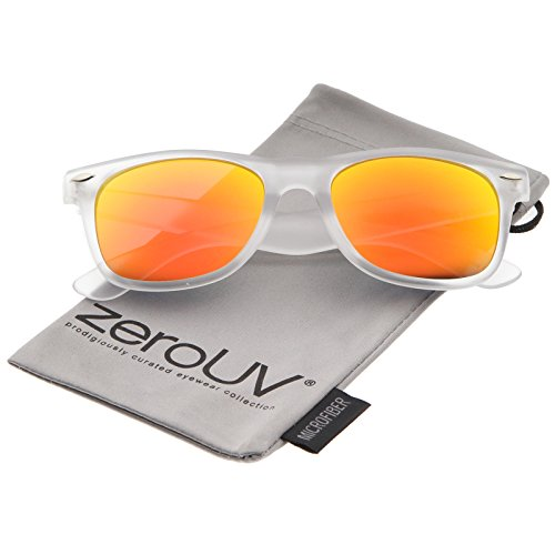 zeroUV - Matte Frosted Frame Reflective Colored Mirror Lens Horn Rimmed Sunglasses 54mm (Frost / Orange - Orange Sunglasses Mirror