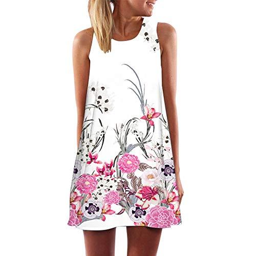 (Dressin Womens Dress Summer O-Neck Boho Sleeveless Floral Printed Beach Mini Dress Casual T-Shirt Tank Tops Short Dress)