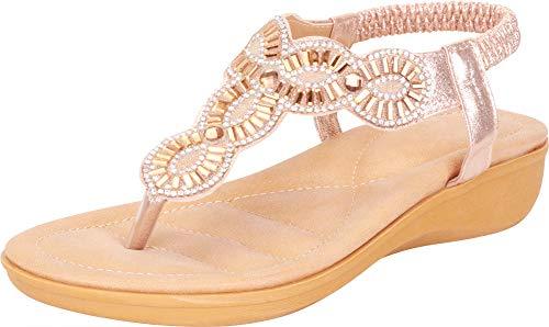 Gold Gem Wedge - Cambridge Select Women's Thong Toe T-Strap Crystal Rhinestone Stretch Slingback Low Wedge Sandal,8 B(M) US,Gold