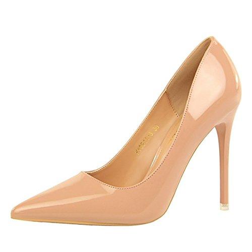 DIMAOL Chaussures Femmes de Réconfort Printemps Automne en Simili Cuir Talon Aiguille Talons Bout Pointu Pour Partie & Soir Nue, Rose Rouge Brun Noir,Rose,US5.5/EU36/UK3.5/CN35