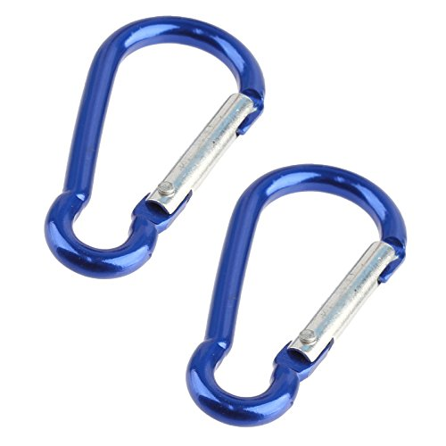 - Key Clip Carabiner Keychain D Ring Hook Spring Loaded (2 Pack) - Blue