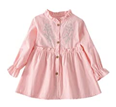 Kid Clothes Baby Dress Liusdh,Toddler Baby Girls Long Sleeve Solid Ruched Floral Dressed Clothes Pink,M