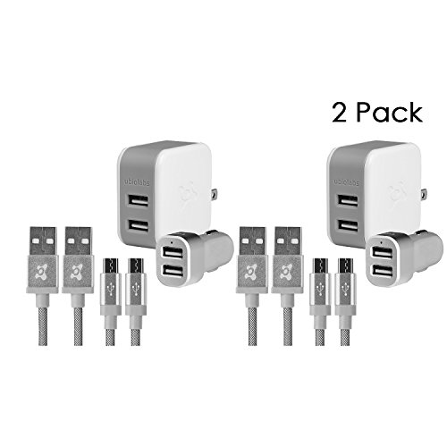Phone Charger Cable Kit - Ubio Labs 2 Pack 2x Dual Wall, 2x Car Charger and 4x 6ft Micro USB Woven Cables