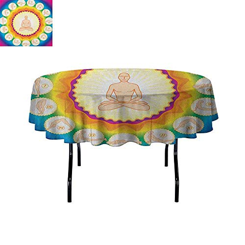 DouglasHill Yoga Leakproof Polyester Tablecloth Yogi in The Lotus Posture and Exercises in Several Positions Surya Namaskar Vitality Outdoor and Indoor use D35 Inch Multicolor