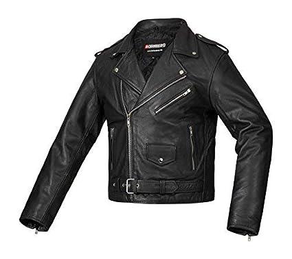 Bohmberg Premium- Chaqueta pesada de motociclista 100% cuero duradero para hombre - M