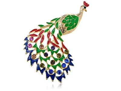 Alilang Womens Gold Tone Multicolored Rhinestones Peacock Bird Brooch Pin