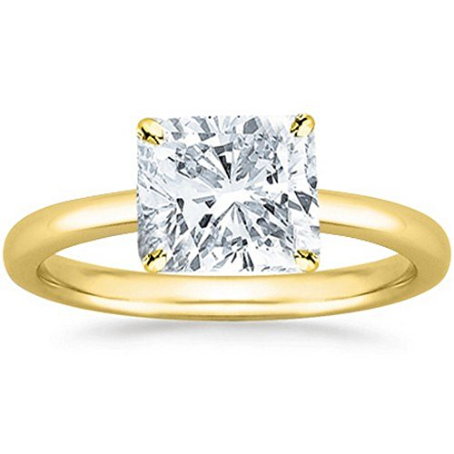 14K Yellow Gold Cushion Cut Solitaire Diamond Engagement ...