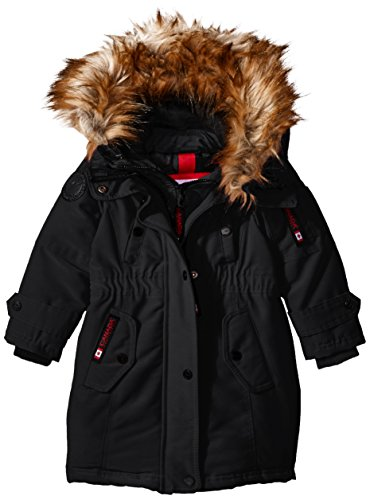 Canada Weather Gear Toddler Girls' Outerwear Jacket (More Styles Available), Hooded Parka-CW046-Black/Natural, 2T (Parka Hooded Leather)