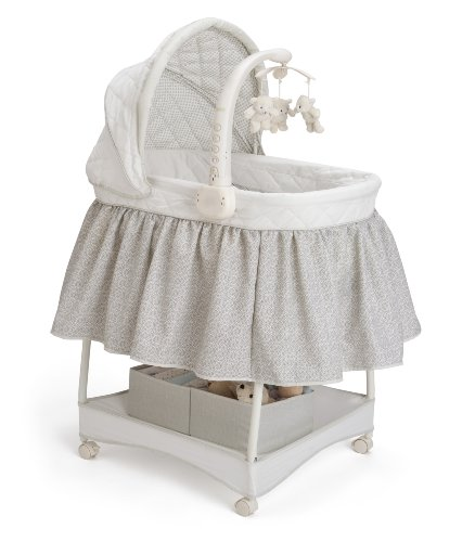Great Deal! Delta Children Smooth Glide Bassinet, Silver Linings