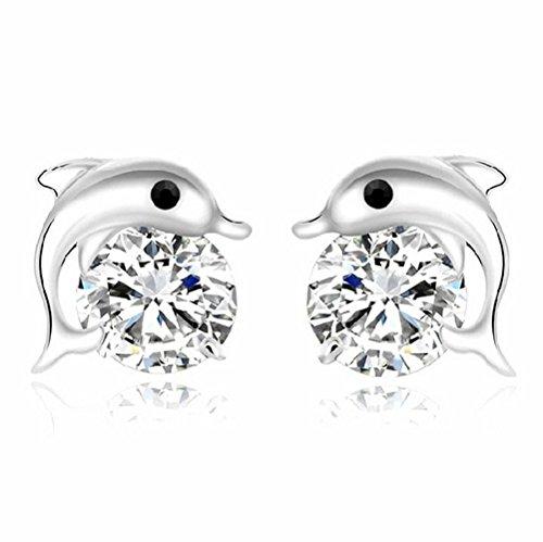 "Price comparison product image Winter's Secret ""Dolphin Bay of Love"" AAA Austrian Zircon Fashion Stud Earring"