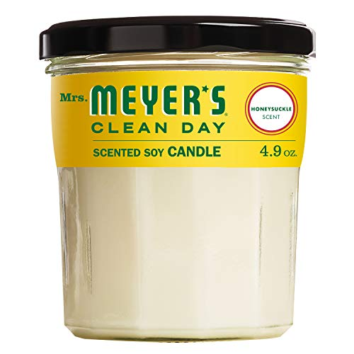 Mrs. Meyer's Clean Day Scented Soy Candle, Honeysuckle Scent, 4.9 Ounce Candle