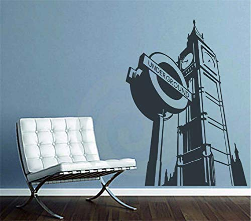 Pikat Wall Sticker Lettering Wall Art Sticker Removable Letters Quote Art Home Decor Sticker London Big Ben Underground Westminster Cityscape Bedroom