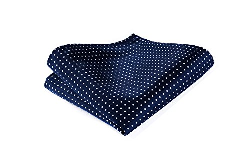 (HISDERN Men's Check Dot Wedding Party Pocket Square Handkerchief Blue/White)