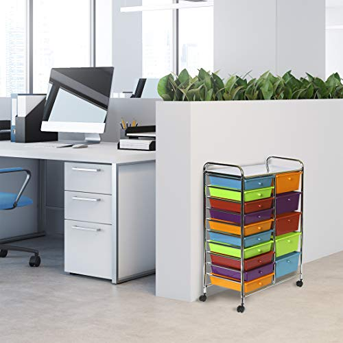 Seville Classics 15-Drawer Organizer Cart Pearlescent Multi-Color by Seville Classics (Image #4)