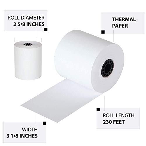 FHS Retail Thermal Paper Cash Register Rolls, 3 1/8 x 230', 50 Rolls In Case, Made in USA/Canada by FHS Retail (Image #3)