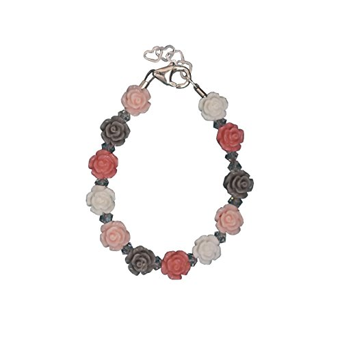 Elegant Multicolor Mini Flower Beads with Swarovski Crystals Sterling Silver Festive Infant Girl Bracelet (BFLM_M)