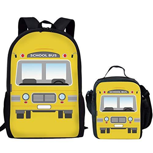 Dzulife Boys Backpack with Lunch Bag Set Elementary School Bookbags Lightweight Back Packs for Children Teen Kids Yellow School Bus