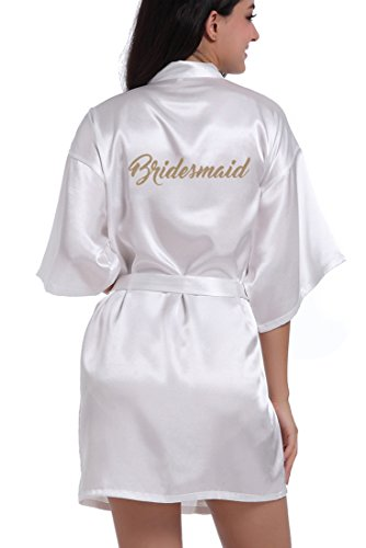 DF-deals Women's Satin Kimono Robe for Bridesmaid and Bride Wedding Party Getting Ready Short Robe with Gold Glitter (Womens Satin Robes Short)