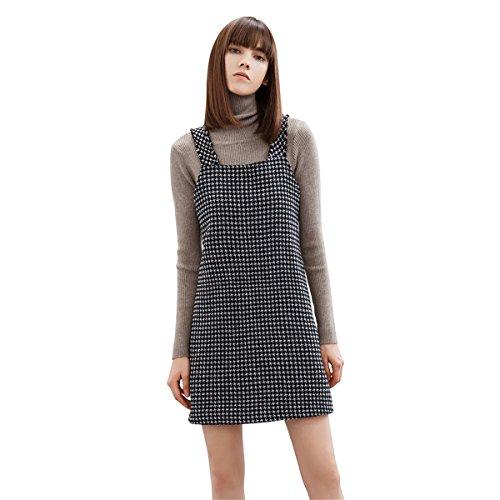 LAFIZZLE Houndstooth Women Overalls Skirt Dress Pocket Camisole Vest Dress Skirt