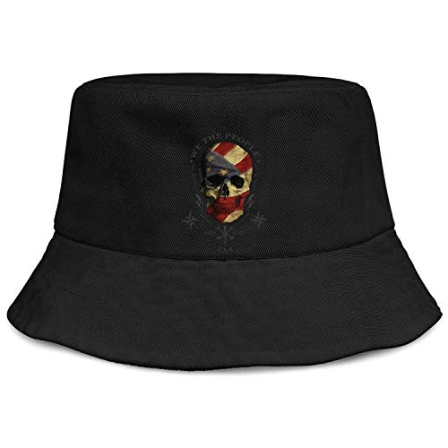 Unisex Women Fashion Bucket Hat Hiking UV Sun Protection We The People American Flag Skull Packable Fishing Hat