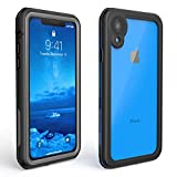 ALOFOX Designed for iPhone XR Case 6.1 Inch Full-Body IP68 Certified Waterproof Case with Built-in Screen Protector for iPhone XR Case (2018 Black+Clear)