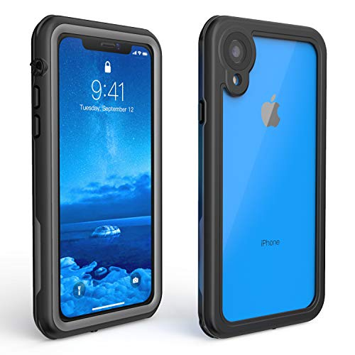 ALOFOX Designed for iPhone XR Case 6.1 Inch Full-Body IP68 Certified Waterproof Case with Built-in Screen Protector for iPhone XR Case (2018 Black+Clear) ()