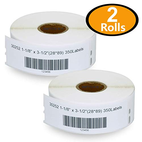 2 Rolls DYMO 30252 Compatible 1-1/8 x 3-1/2(28mm x 89mm) Self-Adhesive Address Labels,Compatible With Dymo 450, 450 Turbo, 4XL And Many More