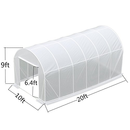 Abba Patio 10 by 20 by 9-Feet Heavy Duty Walk in Greenhouse Fully Enclosed Outdoor Plant Garden Greenhouses, White