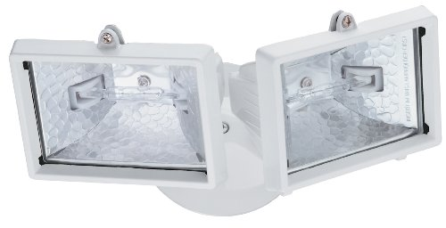 Lithonia Lighting OFTM 300Q 120 LP WH M6 Mini Twin-Head Flood Light 150-Watt Double Ended Quartz Halogen Lamps