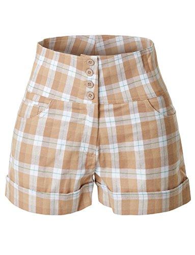 RK RUBY KARAT Womens Stretchy High Waisted Button Sailor Nautical Shorts
