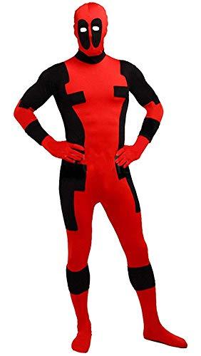 VSVO Kids Lycra Cosplay Halloween Deadpool Costume Bodysuit (Children Large, Red/Black)