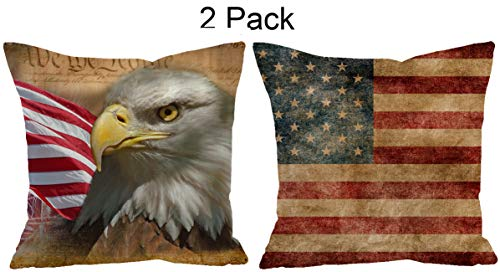 ShineSnow Set of 2 USA Vintage American Flag Bald Eagle 4th of July Memorial Independence Day Throw Pillow Cushion Cover Case 18