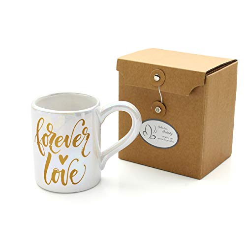 Coffee Mug with Sayings, Ladies Gift Mug, 12 Oz Ceramic Mug for Gifts, Gold Foil, Pearl Glaze (forever in love) ()