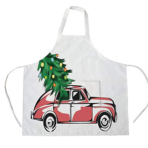 iPrint Cotton Linen Apron,Two Side Pocket,Christmas,Retro Classic Red Car Carrying Big Xmas Tree with Star and Lights Cartoon Prints,White Red,for Cooking Baking Gardening