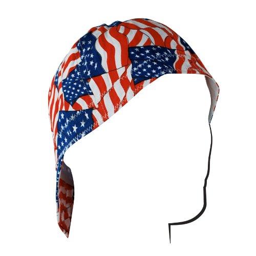 - ZANheadgear Welder Cap with Wavy Flag Design (Red/White/Blue, 7.5