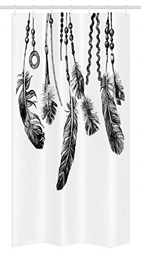 Ambesonne Native American Stall Shower Curtain, Native American Tribal Feathers Ancient Icon for Wisdom and Strength, Fabric Bathroom Decor Set with Hooks, 36 W x 72 L Inches, White and Black