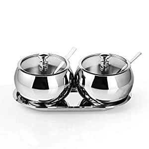 Amazon.com: Sugar Bowl with Lid and Spoon, 2 Stainless Steel ...