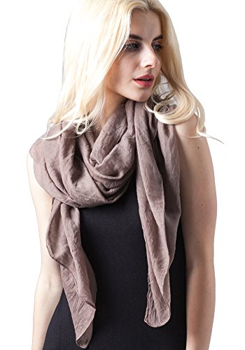 MissShorthair Womens Long Scarf in Solid Color Large Sheer Shawl Wraps for Evening(Brown) (Cotton Lightweight Headwrap)