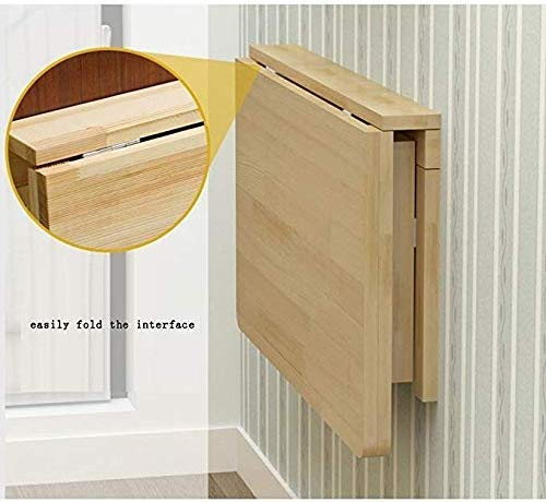 XCJ massivt trä hopfällbart bord väggbord matbord datorbord arbetsrum skrivbord väggbord väggmonterad fällbart bord, 140 x 50 cm 60*45cm
