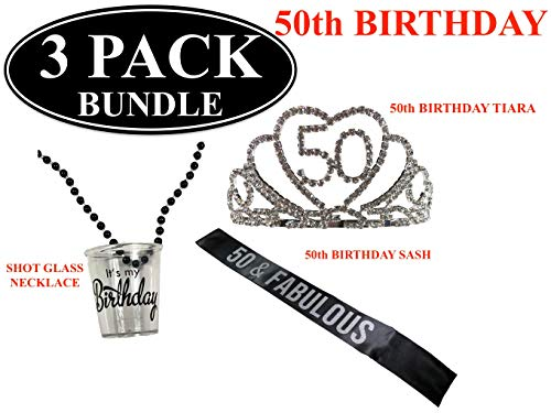 50th - FIFTIETH BIRTHDAY Black Party Sash - Black and Silver Glitter Sash - Birthday Shot Glass Necklace - 50th Birthday Rhinestone Tiara - Party Favors - Supplies and Decorations - Funny Birthday