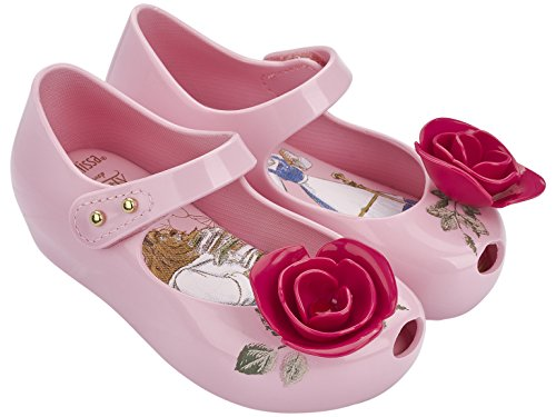 Mini Melissa Kids' Mini Ultragirl Beauty and The Beast Mary Jane Flat,Pink,10 Regular US Toddler