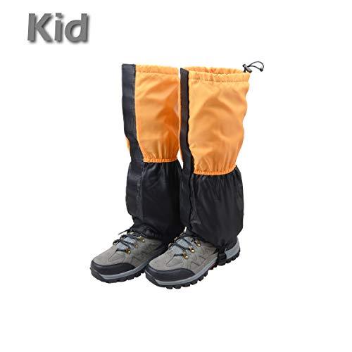 TRIWONDER Fleece-Lined Snow Leg Gaiters Waterproof Boot Gators Hiking Gaiters for Kids Men Women Lightweight Walking Climbing Hunting Cycling Leggings Cover (Orange&Black - Kid) ()