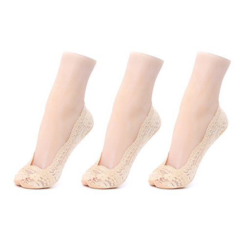 Gather Other 3 Pairs Women's Lace No Show Socks Non-Skid with Silicone Grip,Beige