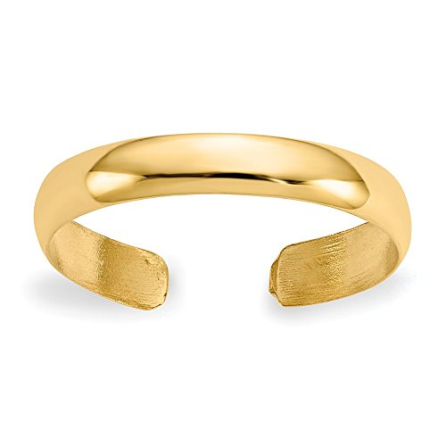 FB Jewels Solid 14K Yellow Gold High Polished Toe Ring ()
