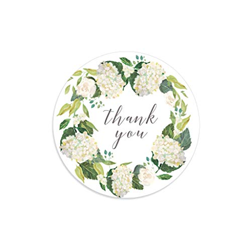 (Thank you stickers, Hydrangea stickers, Floral wreath, Floral thank you stickers, Floral tags, Flower thank you tags, Hydrangea wreath )