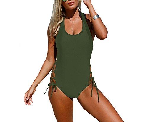Noon-Sunshine Sexy Halter Sleeveless Halter Waist Intersection Lace Slim Siamese Swimsuit,ArmyGreen,L