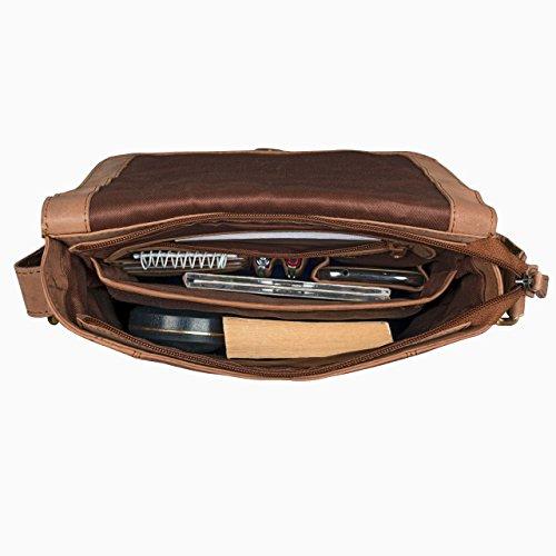 STILORD 'Matthias' Bolso Mensajero para hombres piel pequeño bolso bandolera tablet iPad 10.1 pulgadas vintage de cuero auténtico de búfalo, Color:cognac - marrón claro cognac - marrón claro