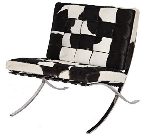 Fbm Saddle (MLF Premium Version Pavilion Chair. Pony Leather, Foam Cushions & Seamless Visible Corners. Polished Stainless Steel Frame Riveted with Cowhide Saddle Straps.(Black + White))