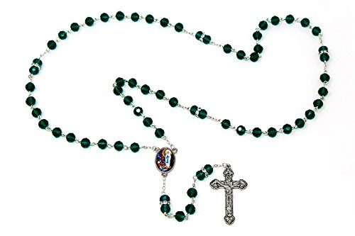 DIRECT FROM LOURDES Lourdes Emerald Crystal Rosary Beads with Swarovski Elements, Apparition Centre, Catholic Rosaries & Lourdes Prayer Card