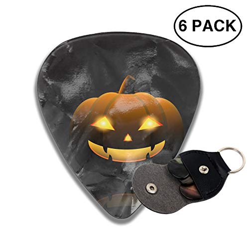 Halloween Pumpkin With Happy Face On Dark Celluloid Guitar Picks 3 D Print Cool 6pcs 0.46mm 0.71mm And 0.96mm ()